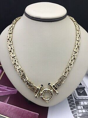 14kt Yellow Gold Solid Byzantine Necklace with Cabochon  amethyst Spring Lock