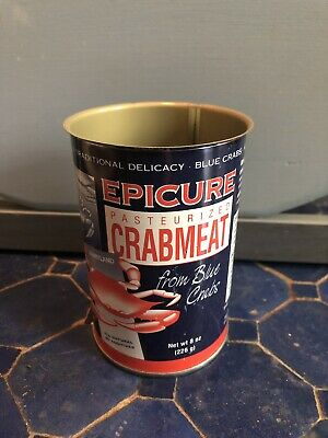 "Epicure Crabmeat Tin Vintage 4"" Cambridge, MD used"