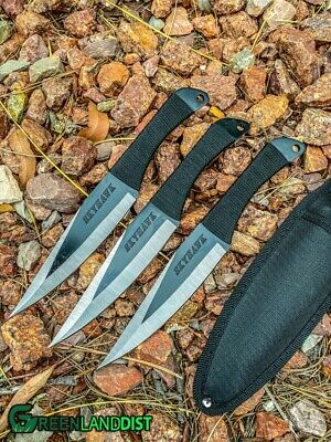 "9"" 3pc Throwing Knife Set Outdoor Wildlife Hunting Tactical Knives Set Sheath N"