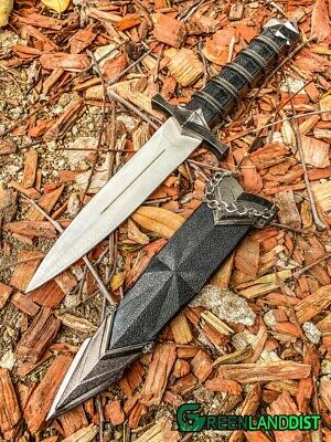 sca//larp//creed//knight//silver//knife Steel Medieval Assassin Dagger with Sheath
