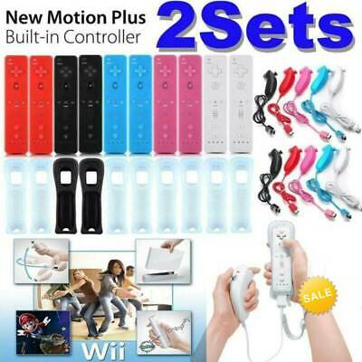 1/2SETS REMOTE CONTROLLER and NUNCHUCK FOR NINTENDO WII&WII U + SILICONE +STRAP.