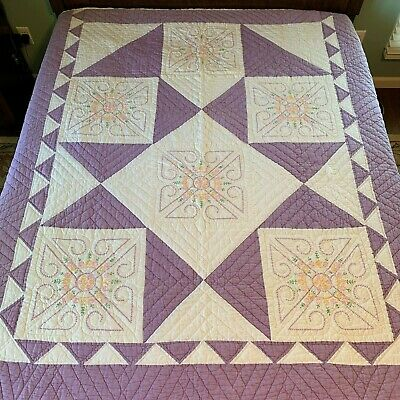 "Vintage Quilt Embroidered Blocks 73""x82 Hand Quilted Purple White"