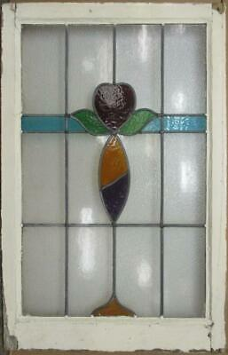 "LARGE OLD ENGLISH LEADED STAINED GLASS WINDOW Colorful Floral 21.75"" x 33.75"""