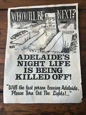 Adelaide Night Life Protest Poster 1981 By Stonie John Stoneham Screenprint RARE