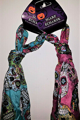 "2 Sugar Skull Dia De Los Muertos/Day of the Dead Scarves Pink & Blue 11x60"" NWT"