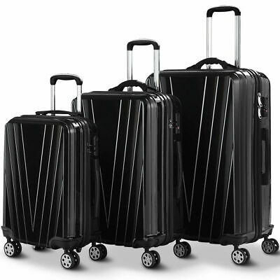 3PCS Luggage Set Travel Trolley Suitcase w/TSA Lock Weighing Function on Wheels