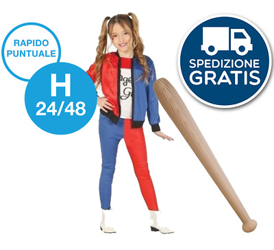 costume HARLEY QUINN suicide squad + MAZZA BASEBALL bambina HALLOWEEN CARNEVALE