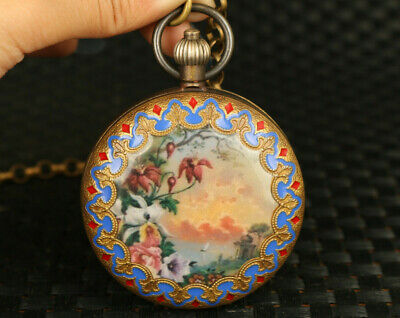 old copper Mechanical Movement pocket scenery watch art pendant netsuke