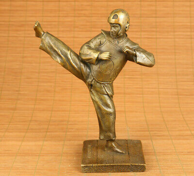 old Sports boy handmade cast bronze statue table home deco noble gift