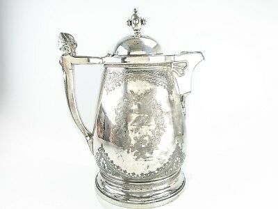 Antique Silver Plate Ice Water Pitcher Insulated Figural Woman Wilcox