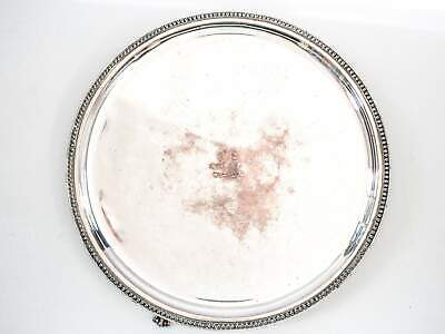 Georgian Antique Old Sheffield Plate Salver Serving Tray With Armorial Engraving