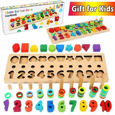 Wooden Activity Letter and Number Sorter Montessori Toys For Kids Early LJ