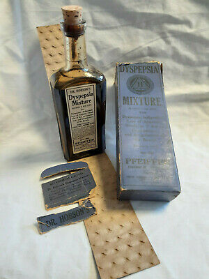 Pfeiffer Chemical Co Dr Hobson's Dyspepsia Mixture In Box Remedy Pharmacy Bottle