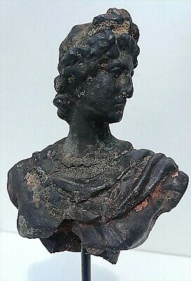 Ancient Antique Roman Silver Apollo 'Son of God' Bust Statue