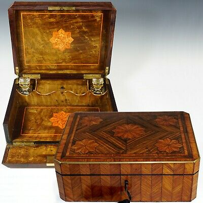Antique French Kingwood Veneer Parquetry Inlay Glove Box Glass Perfume Bottles