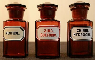 3 Apotheker Flaschen eckig pharmacy pharmacie bottle Menthol Zinc Chinin