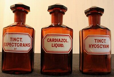 3 Apotheker Flaschen eckig pharmacy bottle Expectorans Cardiazol Hyoscyani