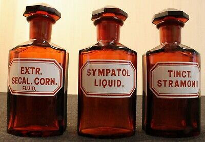 3 Apotheker Flaschen eckig pharmacy bottle Secal. Corn Sympatol Stramonii