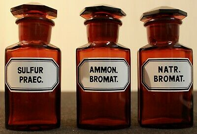 3 Apotheker Flaschen eckig pharmacy pharmacie bottle Sulfur Ammon Bromat Natr.