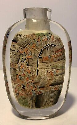 Chinese Glass Handmade Interior Painted Village Snuff Bottle Decoration