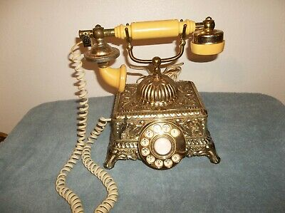 Telephone French Continental Style Gold Ornate Phone Rotary Dial Vintage