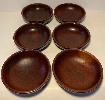 Six Vintage HAITI Hand Made Solid Mahogany Wood Nut Snack Bowls