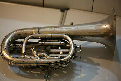 Old Vintage Bariton Tuba Silver Plated Brass Base Engraved 1900s 24.4inch
