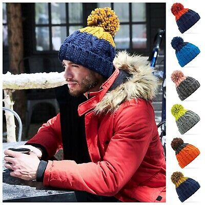 Luxury Cable Knit Pom Pom Bobble Beanie Woolly Hat Chunky Winter Warm Ski Soft