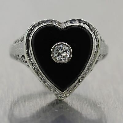 1930's Antique Art Deco 14k White Gold Heart Shaped Onyx Diamond Filigree Ring