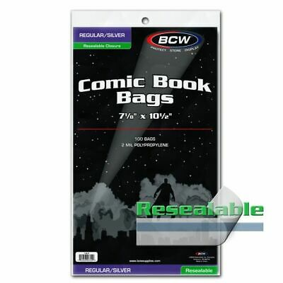 """1 pack of 100 BCW 7 1/8"""" Resealable Silver Regular Comic Book Storage Bags"""