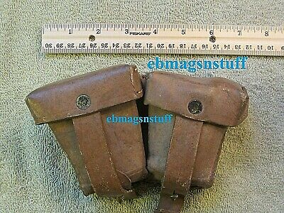 MILITARY SURPLUS Heavy Duty LEATHER AMMO POUCH * With 2 POCKETS * Has Belt Loops