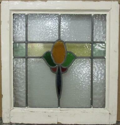 "OLD ENGLISH LEADED STAINED GLASS WINDOW Colorful Abstract Design 19.75"" x 21"""