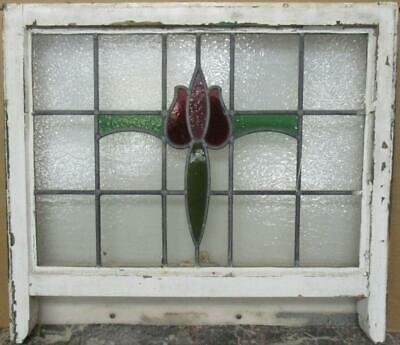 "OLD ENGLISH LEADED STAINED GLASS SASH WINDOW Pretty Floral Design 25.75"" x 19.5"""