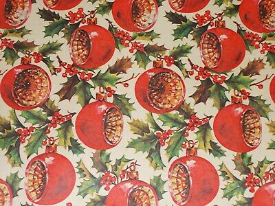 """Vtg Christmas Wrapping Paper Gift Wrap 1960 Ornaments Indents Nos 20"""" X 30"""""""