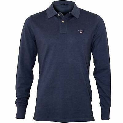Gant Long-Sleeve Pique Rugger Men's Polo Shirt, Denim Blue Melange