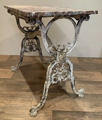 French Decorative Cast Iron And Marble Butchers Table