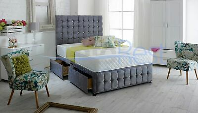 "4Ft6 Double Bed Cubex Designer Divan Bed With Luxury 54"" Headboard"
