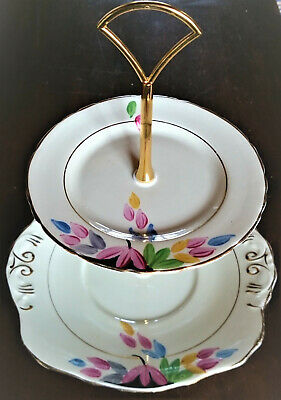 Bone China Cake Stand 2 matching Delphine plates PARTY Afternoon Tea
