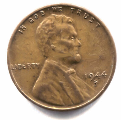 U.S. 1944 S Lincoln Wheat Penny - American One Cent Coin - San Francisco Mint