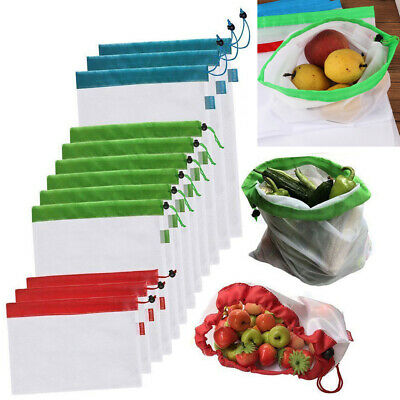 15x Eco Friendly Reusable Mesh Produce Bags Superior Double-Stitched Strength YL