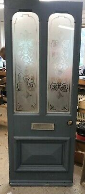 Edwardian Acid Etched Glass Front Door Old Period Reclaimed Wood Antique Lead