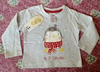 NEW M/&S BABY UNISEX SIZES 0-12M MY FIRST CHRISTMAS XMAS COTTON T-SHIRT TOP