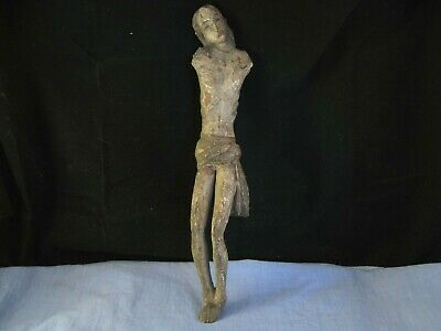 Antique Corpus Christi Christ Crucifix Wooden Church Statue Spanish Colonial