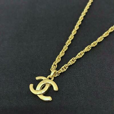 Auth Vintage CHANEL CC Logo Chain Necklace Pendant Gold tone Used from Japan F/S