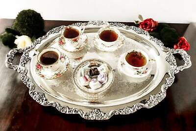 """XL Silverplate Lancaster Rose By Poole Tray Platter 30""""X20"""""""
