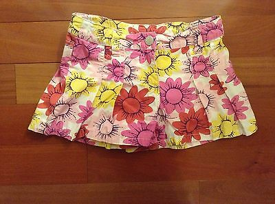 Mini Boden 7 8 Y Pink Yellow Shorts Floral Sunflower