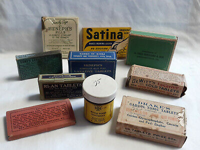 Vtg Drug Store Pharmacy Lot Worm Wood Razor Sharpener Cold Tonic Laxative Tablet