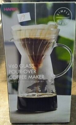 Hario V-60 Glass Pour-Over Coffee Maker. Makes Hot or Cold Coffee