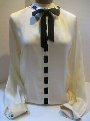 vintage Chanel French cuff links blouse black bow front button down back sz 40