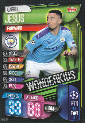 TOPPS MATCH ATTAX CL 2019-20 - Gabriel Jesus - Man City - # WKU 12 - WONDERKIDS